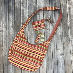 Purse Set-Sling Bag (Red Stripes)
