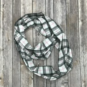 Infinity Scarf-White, Black and Pink Plaid
