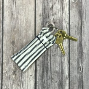Lip Gloss/Essential Oil Roller Ball Key Chain-White with Black Stripes