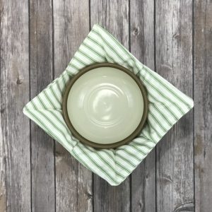 Bowl Buddy-White With Green Stripe