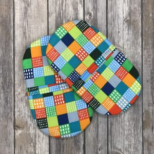 "Mini Pot Holder Set-Multi Colored ""Retro"" Print"