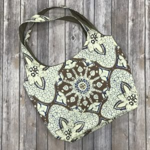 Squared Bottom Purse-Brown, Beige and Blue
