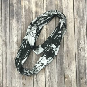 Infinity Scarf – Black and White City Print
