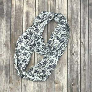 Infinity Scarf – Silky Navy Blue and White