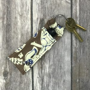 Lip Gloss/Essential Oil Key chain-Brown, Beige and Blue