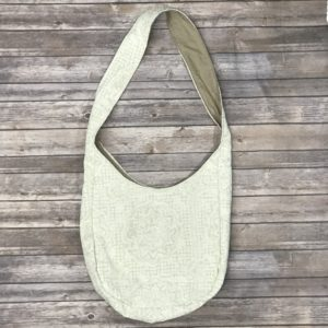 Sling Bag-Lace Print Beige and White