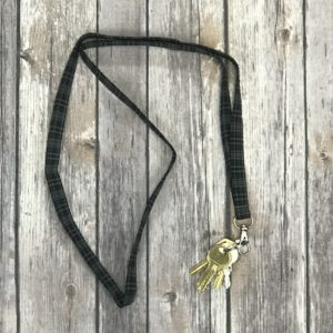Lanyard-Plaid Black and Grey