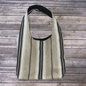 Beige and Black Stripe Square Bottom Bag