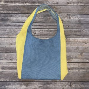 Square Bottom Bag Blue and Yellow