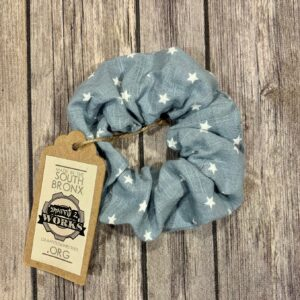 Scrunchie, Light Blue with Stars
