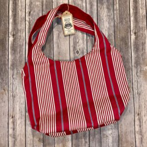 Square Bottom Bag – Red Stripes